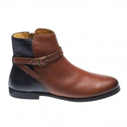 PLAZA ANKLE BOOT COGNAC/BLACK LEATHER