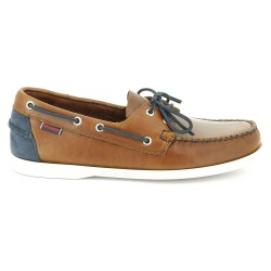 Sebago Docksides Cognac Leather/Navy Nubuck